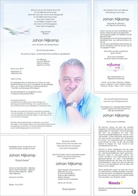 advertentie van Johan   Nijkamp