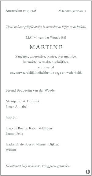 advertentie van M.C.M. (Martine) van der Woude - Bijl
