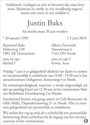 advertentie van Justin Baks