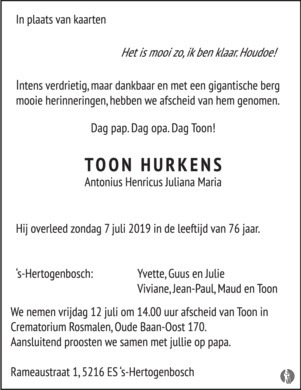advertentie van Antonius Henricus Juliana Maria (Toon) Hurkens