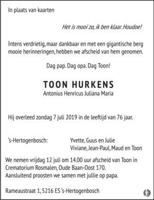advertentie van Antonius Henricus Juliana Maria (Toon) Hurkens