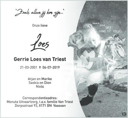 overlijdensbericht van Gerrie Loes van Triest