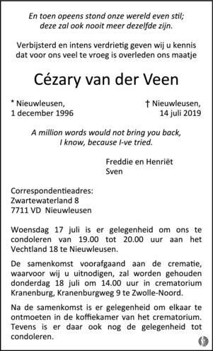 overlijdensbericht van Cézary van der Veen