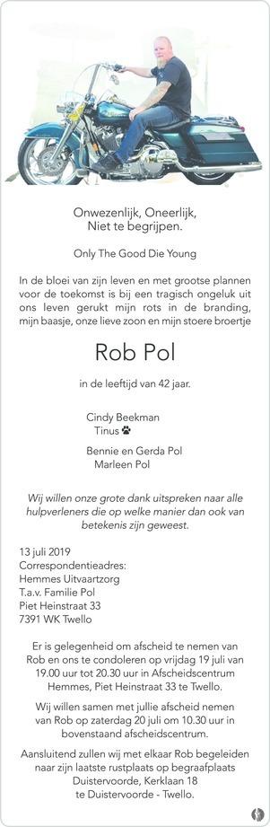 overlijdensbericht van Rob Pol