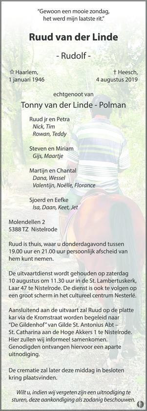 advertentie van Rudolf (Ruud) van der Linde