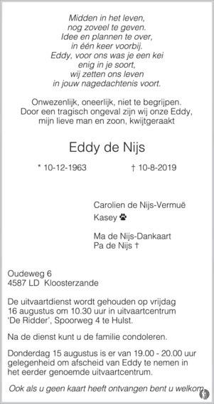 overlijdensbericht van Eddy de Nijs