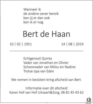 overlijdensbericht van Bert de Haan