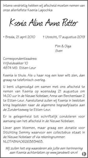 overlijdensbericht van Ksenia Alina Anna Putter