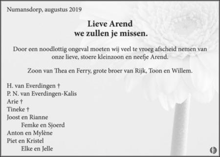 advertentie van Arend van Geffen