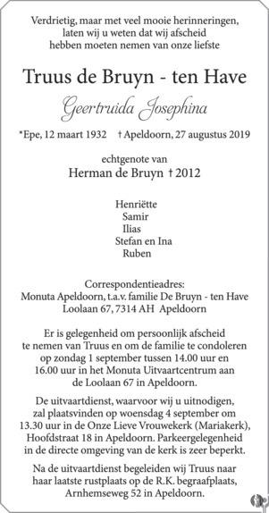 De Bruyn Koeriers.Geertruida Josephina Truus De Bruyn Ten Have 27 08 2019