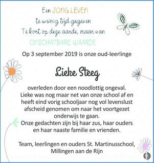 overlijdensbericht van Lieke Steeg
