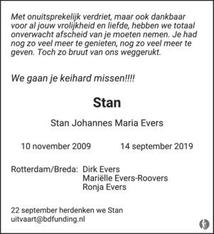 advertentie van Stan Johannes Maria (Stan) Evers