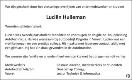 advertentie van Luciën   Hulleman