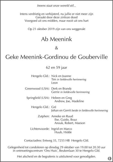 advertentie van Ab en Geke Meenink - Gordinou de Gouberville