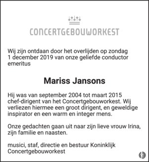 advertentie van Mariss  Jansons