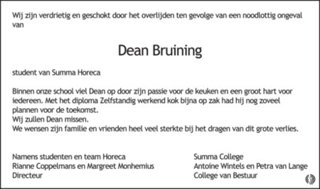advertentie van Dean Bruining
