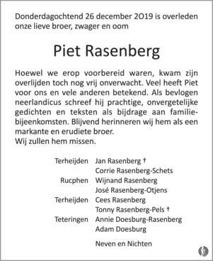Piet Rasenberg 26 12 2019 Overlijdensbericht En