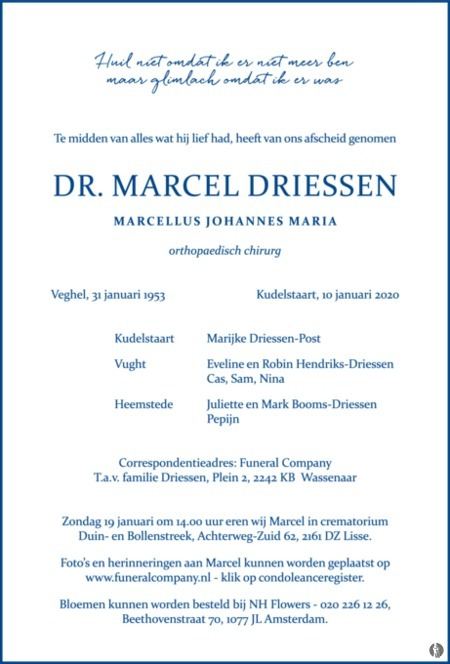 advertentie van Dr. Marchel (Marcellus Johannes Maria) Driessen
