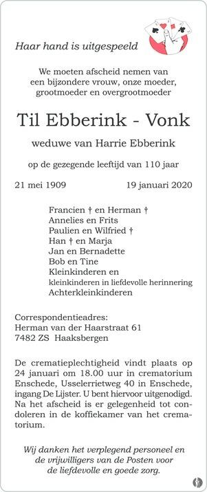 advertentie van Til Ebberink-Vonk
