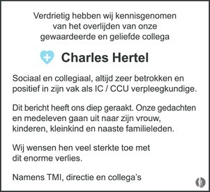 advertentie van Charles Hertel