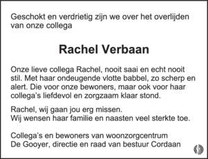 advertentie van Rachel Verbaan