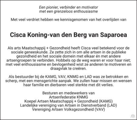 advertentie van Cisca Koning-van den Berg van Saparoea