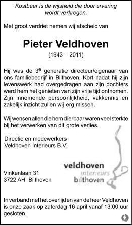 Johan Pieter (Pieter) Veldhoven ✝ 09-04-2011 overlijdensbericht en ...