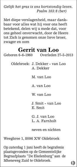 overlijdensbericht van Gerrit van Loo