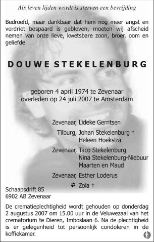 overlijdensbericht van Douwe Stekelenburg