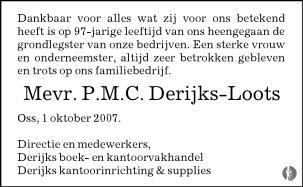 Derijks Kantoorinrichting Supplies.Petronella Maria Cornelia Derijks Loots 01 10 2007