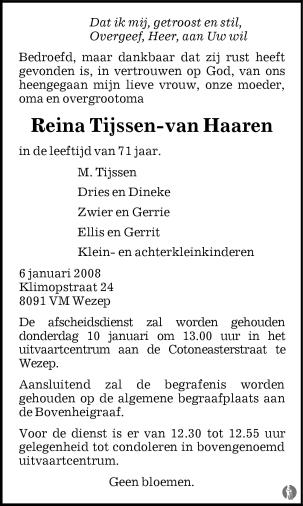 overlijdensbericht van Reina Tijssen - van Haaren