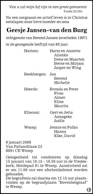 overlijdensbericht van Geesje Jansen - van den Burg