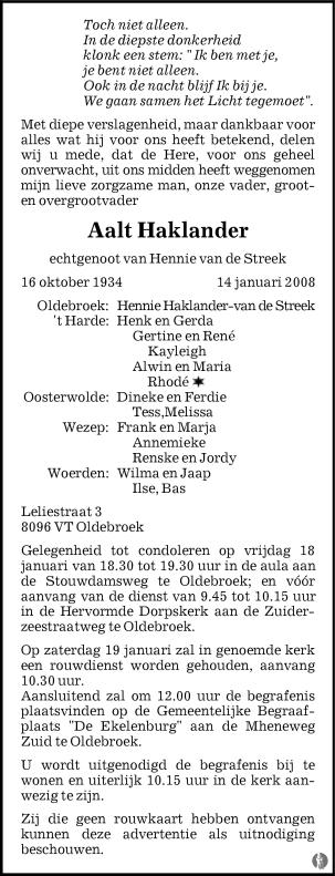 overlijdensbericht van Aalt Haklander