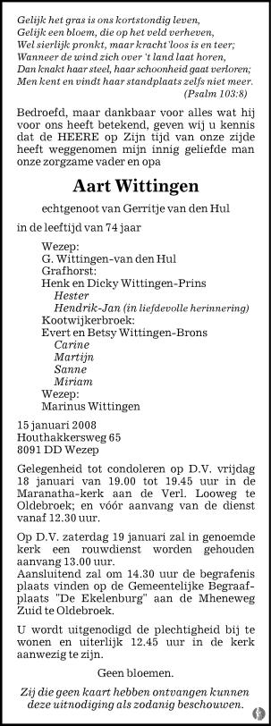 overlijdensbericht van Aart Wittingen