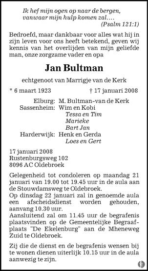 overlijdensbericht van Jan Bultman