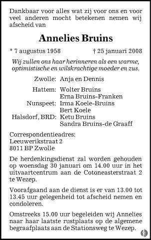 overlijdensbericht van Annelies Bruins
