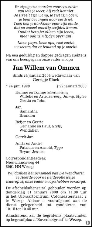 overlijdensbericht van Jan Willem van Ommen