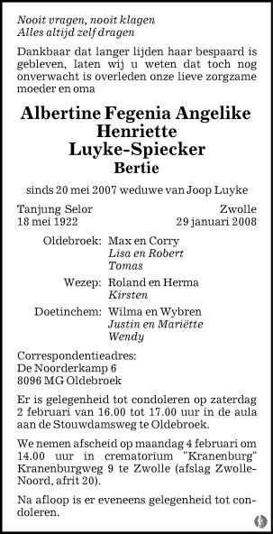 overlijdensbericht van Albertine Fegenia Angelike Henriette (Bertie) Luyke - Spiecker