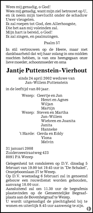 overlijdensbericht van Jantje Puttenstein - Vierhout