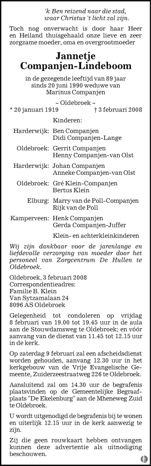 overlijdensbericht van Jannetje Companjen - Lindeboom