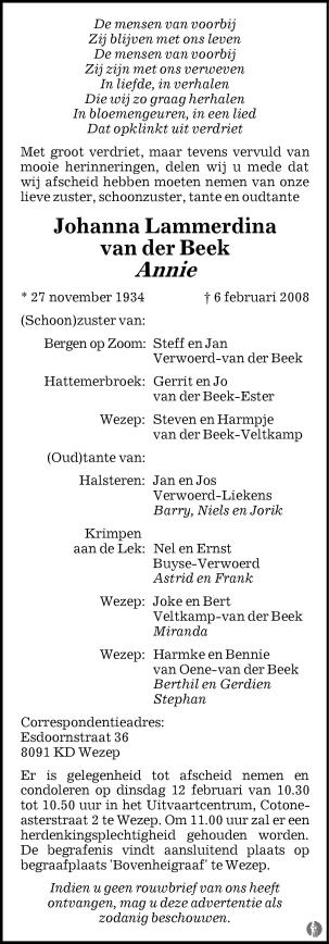 overlijdensbericht van Johanna Lammerdina (Annie) van der Beek