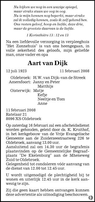 overlijdensbericht van Aart van Dijk