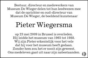 overlijdensbericht van Pieter Wiegersma