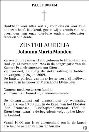 overlijdensbericht van Johanna Maria (Zuster Aurelia) Monden