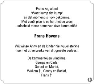 advertentie van Frans Hovens