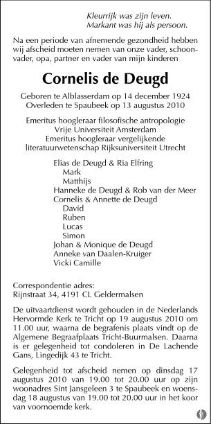 advertentie van Cornelis de Deugd