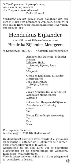overlijdensbericht van Hendrikus Eijlander