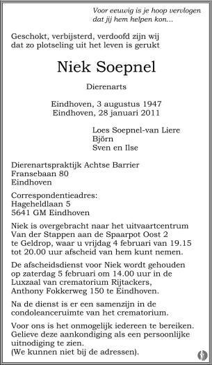 overlijdensbericht van Niek Soepnel