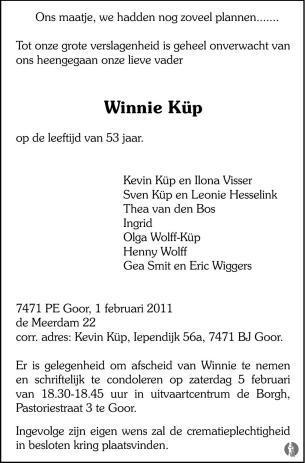 overlijdensbericht van Winnie Küp