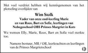 overlijdensbericht van Wim Stolk